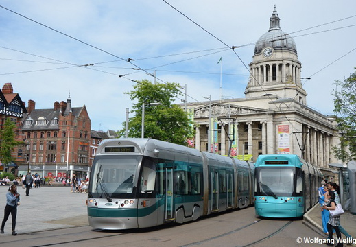 Nottingham Tram, 204 & 211, Old Market Square